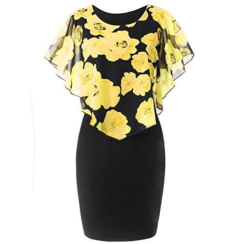 VEMOW Elegant Damen Schlauchrock Casual Plus Size Rose Print Schmetterlingshülse Chiffon O-Neck Rüschen Minikleid (Gelb, 38 DE/S CN)