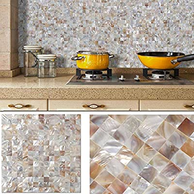 "BeNice Backsplash Peel and Stick Mother of Pearl Tile,Stick on Bathroom Wall Mosaic Tiles Kitchen Shower Fireplace Floor Tiles DIY 3D 12""x12"" Beige"