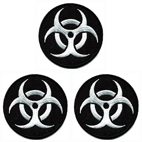 Graphic Dust 3pcs. Biohazard Embroidered Iron on Patch Sew On Logo Symbol Danger Radiation Zombie Black White Applique Response Team Stars Badge