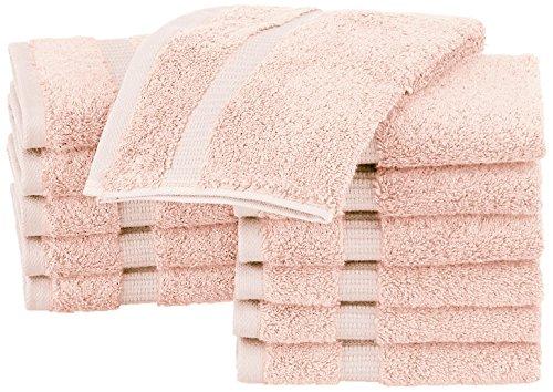 Pinzon Organic Cotton Bathroom Washcloths, Set of 12, Pale Peach