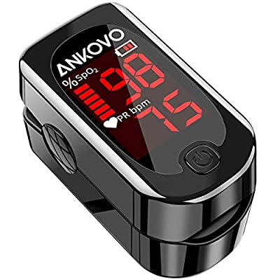 ANKOVO Pulse Oximeter Fingertip, Pulse Oximeter Blood Oxygen Saturation Monitor and Heart Rate Monitor, Easy to Use, Portable Pulse Ox with 2 Batteries and Lanyard (Royal Black)