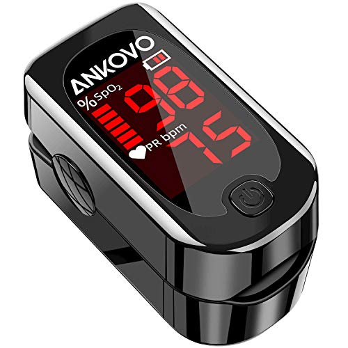 Pulse Oximeter Fingertip, ANKOVO Blood Oxygen Saturation Monitor with Pulse Rate, Heart Rate...
