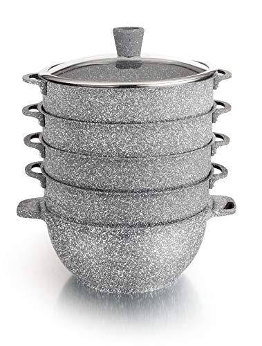 rukauf. 2in1 Kazan und Dampfkocher, Dampfkochtopf, Mantowarka Kasan mit Granit Keramikbeschichtung 6 Liter 28cm Durchmesser Keramik Design Kochtopf