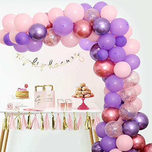 Purple Pink Balloon Garland Kit, 100PCS Balloon Garland Including Chrome Purple, Mauve, Pink & Rose Gold Confetti Balloons Backdrop for Birthday Baby Bridal Shower Party Decorations