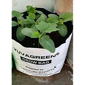 YUVAGREEN UV Treated Poly Grow Bags (White Outside, Black Inside - 20 Bags)