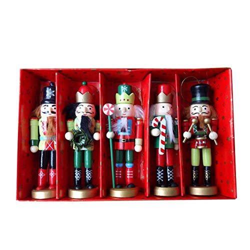 5er Set Nussknacker Figur Christbaumschmuck Handpuppe Anhänger Deko - Schön Weihnachtsgeschenk Für Deinen Freund, Höhe 4.72in mit Geschenkbox