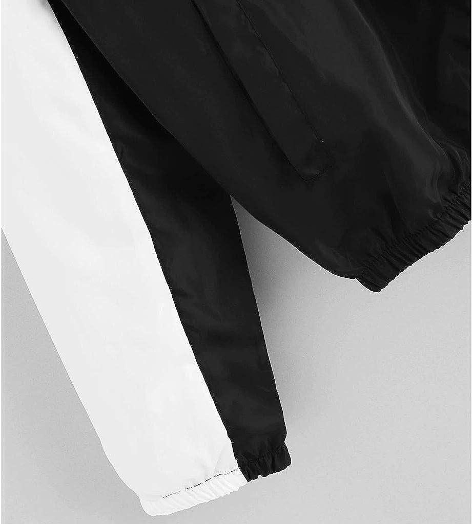 Goosuny Leichte Jacke Damen Übergangsjacke Mit Kapuze Patchwork Hoodie Reißverschluss Sweatshirt Sport Jacken Kapuzenpullover Oberteile Mantel Sweatjacke A Schwarz