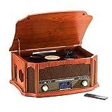 Tocadiscos de 8 en 1 SHUMAN - Reproductor de Giradiscos ,Dab Radio ,FM Radio,Inalámbrico , Reproductor de CD,Cassette,Grabación USB,Altavoz Incorporado,con Control Remoto(MC269DBT)