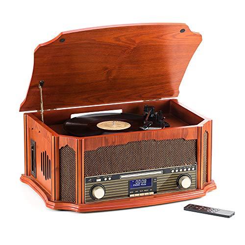 Plattenspieler- CD-Player ,MP3- Player, Kabellos,USBPort,FM /DAB Radio, RCA Line Out Kassettenspieler,Mit Fernbedienung SHUMAN (MC269DBT-Braun)