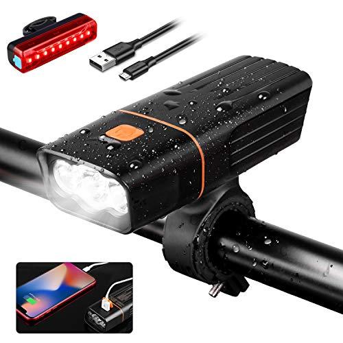 YISSVIC Luz Bicicleta Delantera Foco Bicicleta Linterna Bicicleta con Luz Trasera 5200mAh 3 Modos Ajustables Recargable USB IPX5 Impermeable ⭐