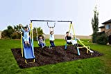 SupremeToys Metal Swing n Slide with A Trapeze and Glider Swing Sets for Kids Outdoor Backyard Playground Teeter Totter Swingset Outside New