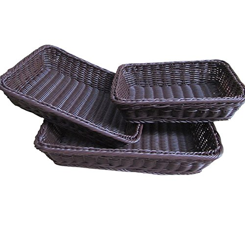 BESICA 3-piece Poly-Wicker Bread Baskets, 16inch Woven Tabletop Food Fruit Vegetables Serving Basket, Restaurant Serving
