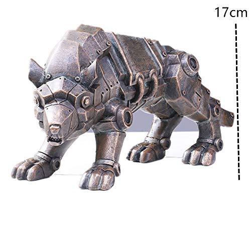 Escultura Viento Industrial Resina Cabeza Animal Arreglo Artesanía Creativa De Accesorios De Barra De Estilo Domésticolobo Dorado Estatuas