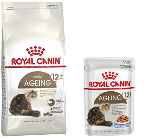Royal Canin - 1x Katzenfutter 400g Health Nutrition AGEING +12 Senior Katzen ab dem 12. Lebensjahr + 4X AGEING +12 Feuchtfutter Senior 85g