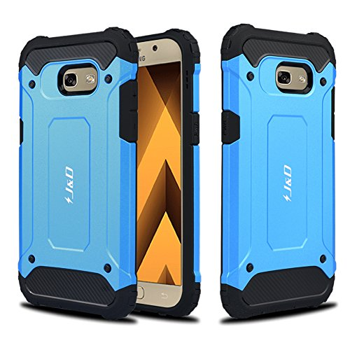 JD Compatible para Galaxy A5 2017 Funda, [Armadura Delgada] [Doble Capa] [Protección Pesada] Híbrida Resistente Funda Protectora y Robusta para Samsung Galaxy A5 (Release in 2017) - Azul