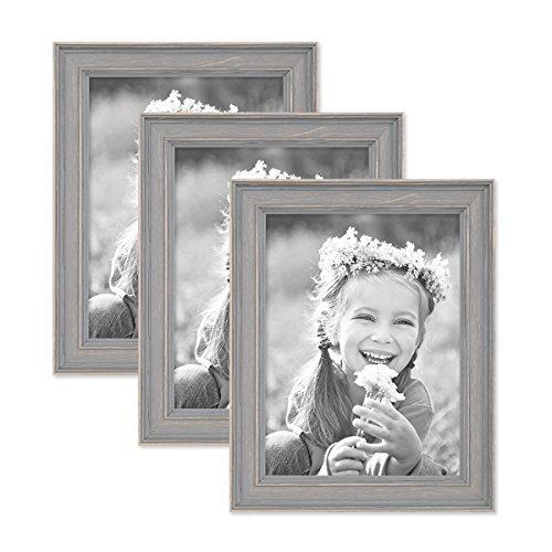 PHOTOLINI 3er Set Bilderrahmen Skandinavischer Landhaus-Stil Grau-Braun 18x24 cm Massivholz mit Shabby-Chic Note/Fotorahmen/Wechselrahmen