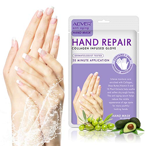 3 Pairs Hands Moisturizing Gloves, ALIVER Hand Skin Repair Renew Mask w/Infused Collagen, Serum + Vitamins + Natural Plant Extracts for Dry, Aging, Cracked Hands Intense Skin Nutrition Hand Cream Mask