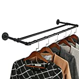 OROPY Industrial Pipe Double Rail Garment Rack, Wall Mounted Clothes Rod for Clothing Storage, Black Color, 35', Parallel Type