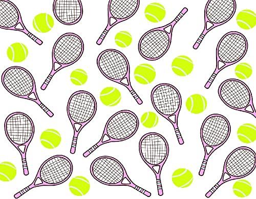TISAGUER 5D Diamante Pintura por Número Kit,Deportes de patrones sin fisuras con iconos de raquetas y pelotas de tenis en estilo de diseño plano,Bricolaje Diamond Painting kit completo Bordado
