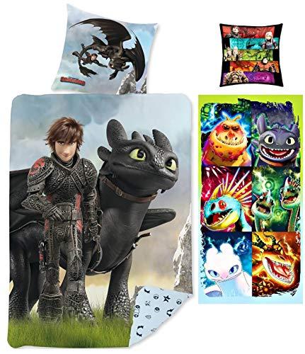 rainbowFUN.de Dragons Bettwäsche 135x200 Kissen 40x40 Handtuch 70x140 Baumwolle Hicks Ohnezahn Drachenzähmen leicht gemacht