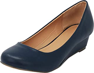 Women's Closed Round Toe Slip-On Low Wrapped Comfort Wedge
