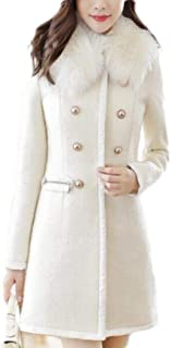 Macondoo Womens Double Breasted Woolen Faux Fur Collar Winter Pea Coat Jacket