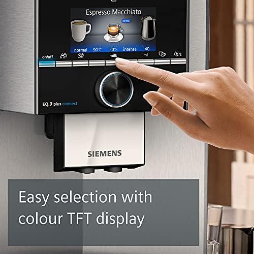 Siemens EQ.9 Plus Connect s500 TI9553X1RW – Machine à café automatique connectée avec écran TFT – Broyeur céramique silencieux – 14 recettes de café – Mode Barista – Couleur : Inox