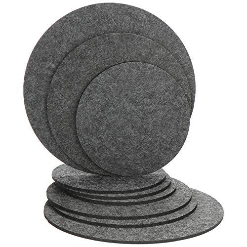 com-four® 9X Topf-Untersetzer aus Filz - runde Tischuntersetzer in verschiedenen Größen - Untersetzer für Töpfe, Pfannen, Schüsseln und Vasen