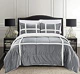 Elegant Comfort Micromink Stripe Lined Sherpa Comforter...