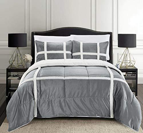 Elegant Comfort Micromink Stripe Lined Sherpa Comforter Set, Premium Down Alternative Micro-Suede 3-Piece Reversible Comforter Set, Full/Queen, Gray