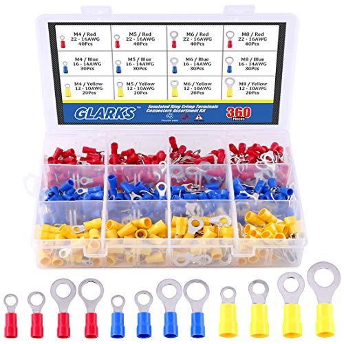 Glarks 360pcs 22-16/16-14/12-10 Gauge Mixed Quick Disconnect Electrical Insulated M4 / 5/6 / 8 Ring Crimp Terminals Connectors Assortment Kit