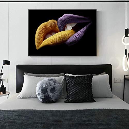 wZUN Sexy Labios Lienzo Arte Pintura Carteles e Impresiones Beso imágenes murales para la decoración de la Pared de la Sala de Estar 60x80 Sin Marco