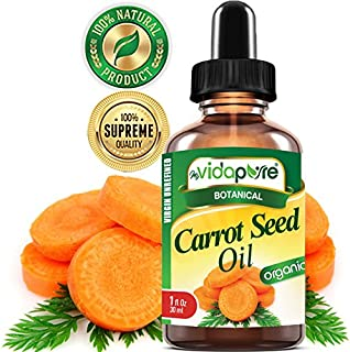 ORGANIC CARROT SEED OIL WILD GROWTH Daucus Carota RAW. 100% Pure VIRGIN UNREFINED Undiluted 1 Fl.oz.‐ 30 ml. For Skin, Face, Hair,Lip and Nail Care.bymyVidaPure