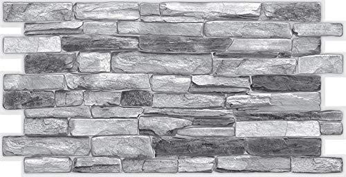 STM Dekor | PVC Paneele Silver Shale | 1 Platte | Schiefergestein | Wandpaneele | Deckenpaneele | Tapete | Wanddeko | Schaumstoff | Wasserfest | Wandaufkleber | Kunstoff Platt