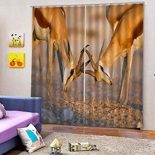 zpangg Black Out Window Cover Fighting Tibetan Antelope Blackout For Children Bedroom Eyelet Thermal Insulated Room Darkening Curtains For Nursery Living Room Bedroom 150×166Cm