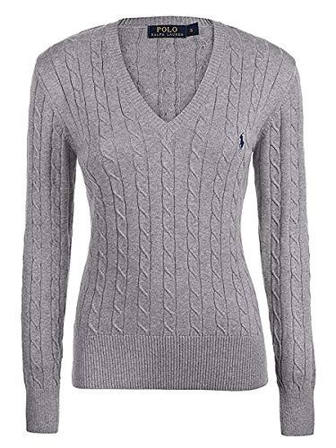 Ralph Lauren, pullover da donna elegante con scollo a V, tessuto a maglia Grey Small