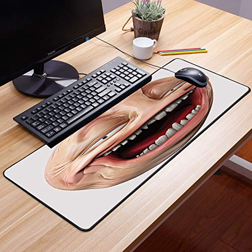 Gaming Mauspad - 600 x 350 mm,Humor, Poker Face Guy Meme Lachen Mock Person Selbstgefällig Dumm Odd Post Forum Grafik, Mul,Vernähte Kanten - rutschfest - Mousepad mit Einer Gummiunterseite Oberfläche