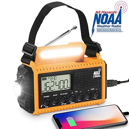NOAA Emergency Weather Radio,5000mAh Solar Hand Crank Portable Digital Survival Radio,Battery Powered AM/FM/Shortwave Radio,Phone Charger,Dimmable Flashlight/Reading Lamp,LCD Screen,Headphone Jack&SOS