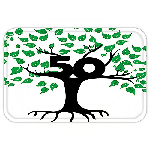 Kisscase Custom Door MatDecoration Stylized Tree Icon with Number Fifty Growth Aging Nature Theme Green Black