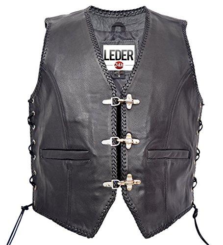 LEDER24H Motorradweste Biker Kutte Lederweste 1050 - SP, L, Schwarz