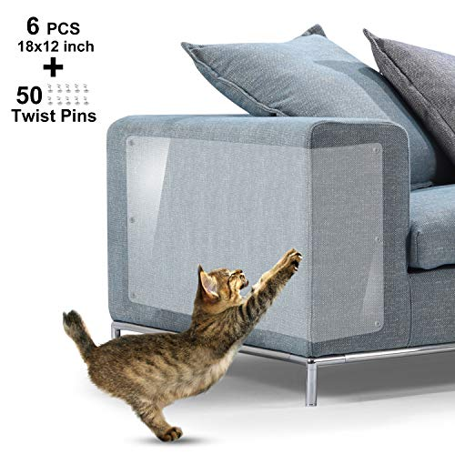 IN HAND Furniture Scratch Guards, X-Large Premium Flexible Vinyl Cat Couch Protector Guards with Pins for Protecting Your Upholstered Furniture, Cat Scratch Deterrent Pad, 18' L X 12' W