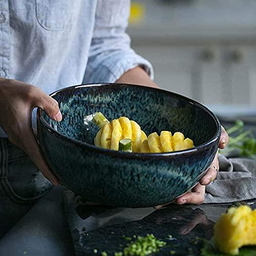 WXHHH Ciotola per Insalata di Frutta da 7 Pollici con Motivo a Pavone Gres Europeo, Ciotola per Noodle Grande Creativa 2.3L  Casa Zuppiera Stoviglie in Ceramica