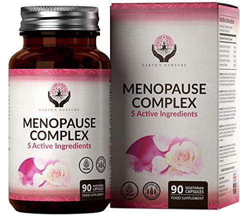 EN Complejo de Menopausia 90 Capsulas Veganas | Combate Menopausia Sofocos para Mujer | 5 Ingredientes Activos: Cohosh Negro, Trebol Rojo, Vitex Agnus Castus, Hoja de Salvia y Lupulo | Sin OGM