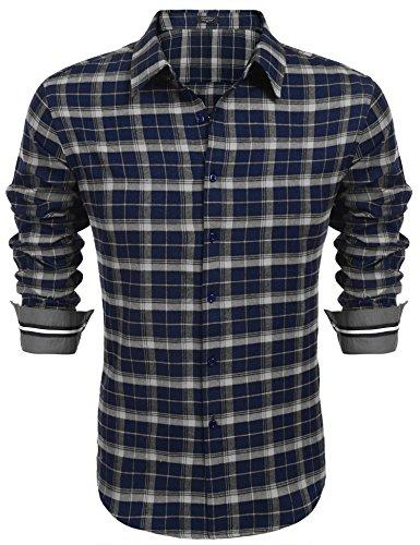 Hemden Herren Karohemd Langarm Freizeithemden Karrierte Shirts (Blau, M)