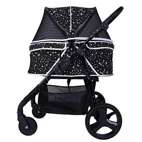 AzLLY Opvouwbare reisbuggy voor huisdieren, voor honden/katten/vijf kinderwagen, met 4 wielen, opvouwbare transportwagen, afneembare deken voor middelgrote dieren tot 30 kg