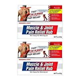 Pure-Aid Muscle & Joint Pain Relief Rub (Non-Greasy Cream for Minor Arthritis, Backache, Muscle & Joint Pain 2oz (2pk)