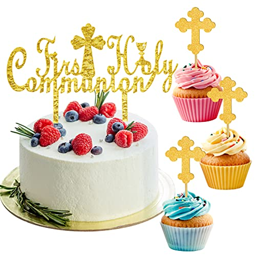 Cake Toppers for First Holy Communion, 1PC Acrylic Corss Cake Topper with 10PCS Gold Glitter Cupcake Toppers, Baby Shower Party Decoration Supplies
