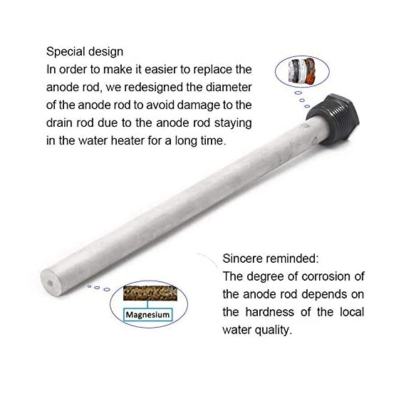 """Eleventree 2 Pack RV Water Heater Anode Rods, Anode rod for hot water heater,Extends the Life of Suburban and Mor-Flo… 2 Corrosion Protection: Extends the life of a water heater by attracting corrosive elements in the water. The exclusive suburban anode rod absorbs the corrosive action acused by hot water and prolongs the life of your water heater tank. Size and Material Typle: Magnesium anode rod, 9.25"""" long,¾"""" threads , Uses a 1-1/16'' socket Reliable quality:High quality rv hot water tank anode rods are a perfect replacement for suburban 232767 and Mor-Flo 6 Gallon water heater anode rod."""