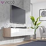 Vicco TV Board Cumulus hängend Wohnwand Fernsehschrank Lowboard Hochglanz (Sonoma/Weiß Hochglanz, 240er) - 4