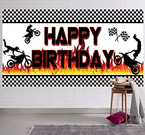 Large Motocross Birthday Party Backdrop, Motocross Dirt Bike Racing Happy Birthday Sign Banner, Motocross Birthday Party Supplies Decorations, Motocross Birthday Photography Background (6.6 x 3.3 ft)